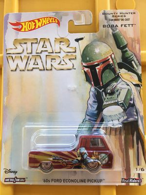 Hot wheels Star Wars boba fett 60 ford econoline pick up truck collectible die cast toy car $15 trade Hotwheels Hond Nissan Datsun civic integra gtr for Sale in Colton, CA