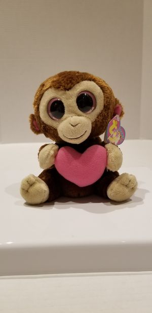 "6"" TY Beanie Boo Monkey Casanova Brown Plush Stuffed Animal Pink Heart Valentine for Sale in Stoneham, MA"