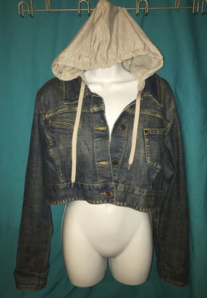 Younique New Plus Size 2X Jean Jacket w/ Detachable Hood Denim Hoodie Crop Top XXL for Sale in Henderson, NV