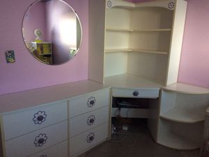 White desk, dresser, end table combo w/ bookshelf and purple flower accents for Sale in Newark, CA