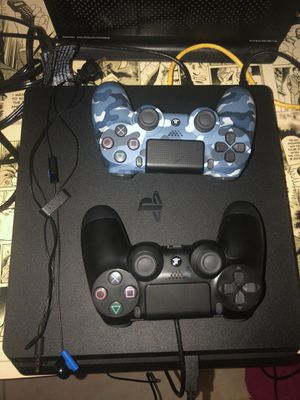 PS4 slim with two controllers fifa 20 call of duty black ops 4 headphones and box for Sale in Miami, FL