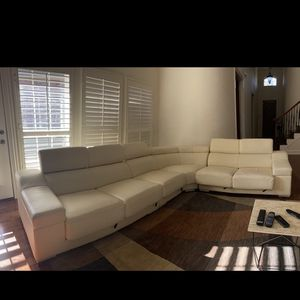 White Leather Sectional Sofa for Sale in Irving, TX