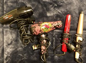 Hair dryer (ed Hardy) straightener (ghd) and curling wand (Remington) for Sale in Cantonment, FL