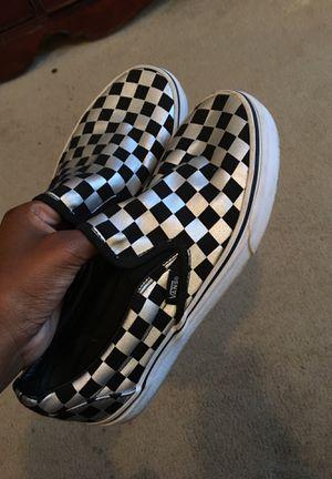 (SIZE 6) Checkerboard Metallic/Black Vans for Sale in Hampton, GA