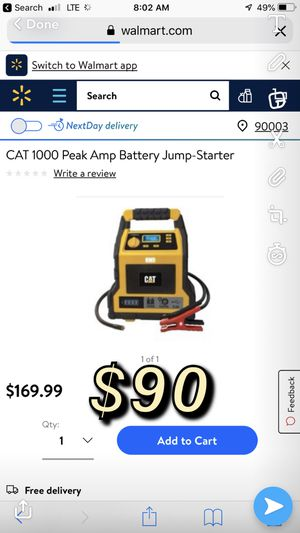 Peak amp battery jump starter for Sale in Baldwin Park, CA