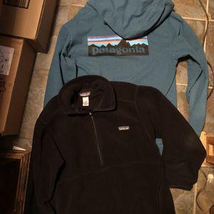 Patagonia Men's Both Size Medium . Black Fleece Pullover $60 . Blue Organic Cotton Full Zip Jacket $60 . Pick Up Only River Oaks Qt 2601 Jacksboro Hw for Sale in Fort Worth, TX