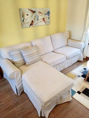Ektorp sofa sectional with chaise like new!! - Can Deliver for Sale in Alexandria, VA
