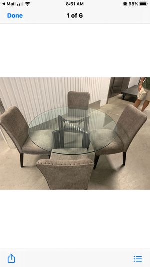 Glass Table and 4 Fabric Chairs-$340.00 for Sale in Phoenix, AZ