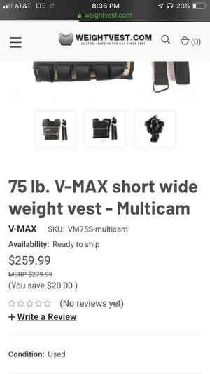 75 lb. V-max short wide weight vest for Sale in Arlington, TN