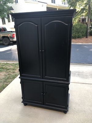 $600 OBO Large black hard wood designer armoire for Sale in Raleigh, NC