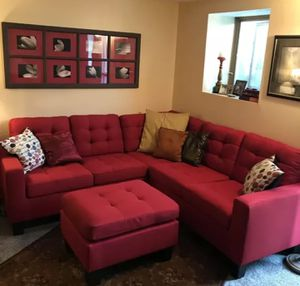 Brand New Red Linen Sectional Sofa Couch + Ottoman for Sale in Silver Spring, MD