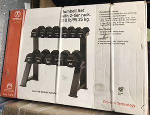 Free weights set 210 lb with stand (MARCY BRAND) NEW IN THE BOX for Sale in Santee, CA