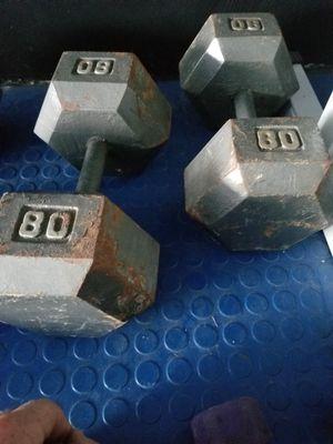 80 pound dumbbells, benches, atlas stones, deadlift platform for Sale in Columbus, OH