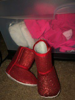 New red sparkling baby girl boots