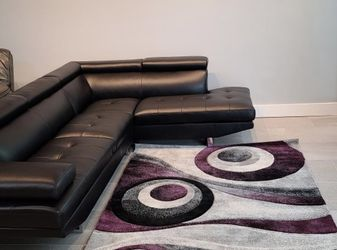 Black Ibiza Sectional Sofa And Ottoman Set On Sale! No Credit Needed Financing Available And Same Day Delivery for Sale in Lakeland,  FL