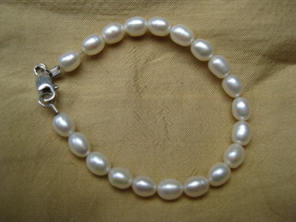 "Baby Authentic White Pearl Bracelet 5.5"" Sterling Clasp"