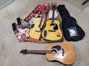BIG GUITAR BUNDLE PACK: 2 GUITARS, 2 FOOTRESTS, 1 GUITAR BAG, AND 1 FENDER INTRODUCTION/GUIDE BOOK (HUGE DEAL) for Sale in Las Vegas, NV