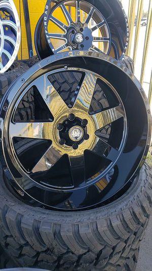 24x12 black hardcore rims 6 lug 6x139 6x5.5 on new rt tires 33 1250 24 lt for Sale in Phoenix, AZ