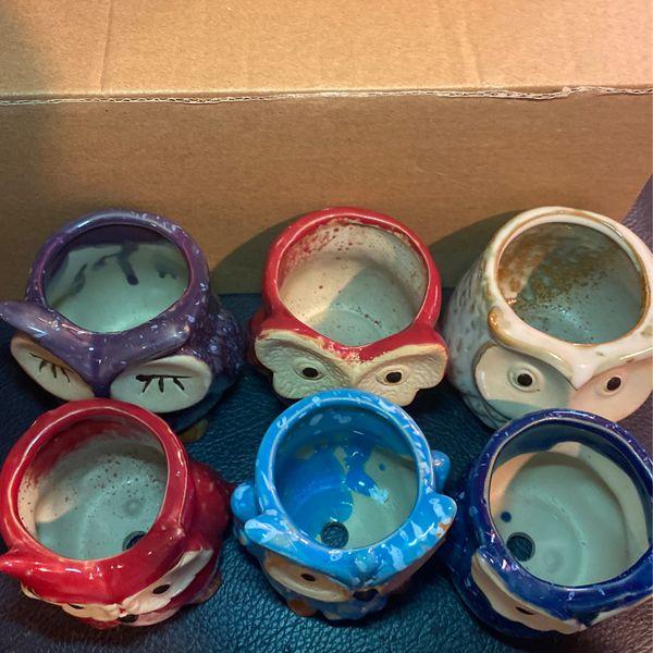 Glazed Owl Pots