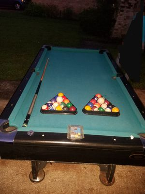 Tournament choice 7ft x 4ft Green Top Pool Table normal wear and tear  still good condition with all accessories in pictures included for Sale in Humble, TX