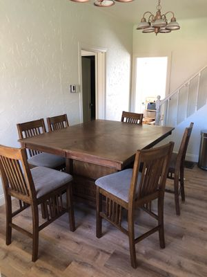 Bar height dining room table with 6 chairs for Sale in Wenatchee, WA