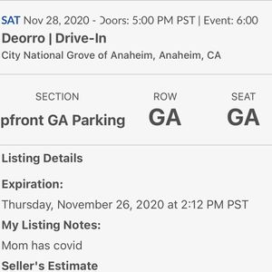 Deorro Sat 11/28 Vip Parking for Sale in Orange, CA