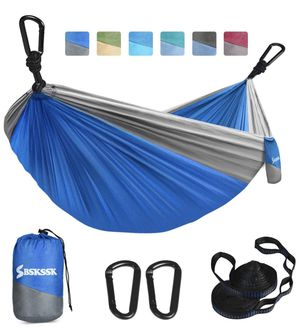 Hammock Camping Hammock, BSKSSK Portable Double & Single Lightweight Parachute Hammocks with 2 Tree Straps & 2 D-Shape Carabiners for Indoor Outdoor for Sale in Edison, NJ