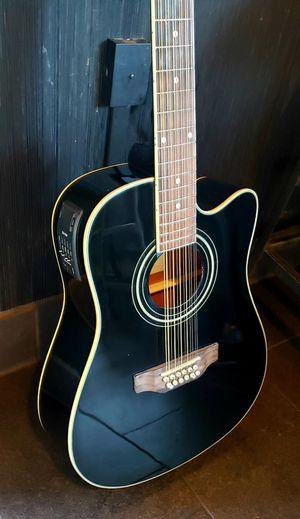 New 12 String Acoustic Electric Guitar Black Combo Gig Bag & Accessories Guitarra Electrica Acústica 12 Cuerdas para Requintiar Corridos y Sierreño for Sale in South Gate, CA