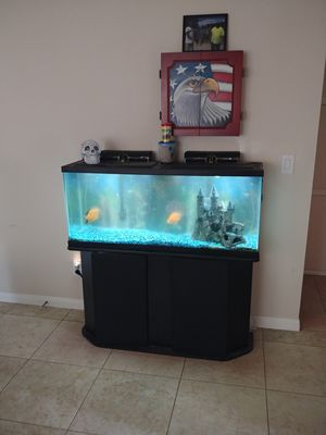 55 gal. Fish tank with stand and fish. Oscar and Blood parrot for Sale in Banning, CA