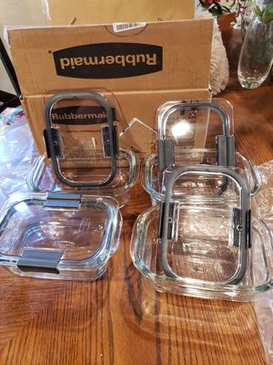 New 4 Glass Food Storage Containers with Airtight Lid 4 Pc ( Reseda ca) for Sale in Los Angeles, CA