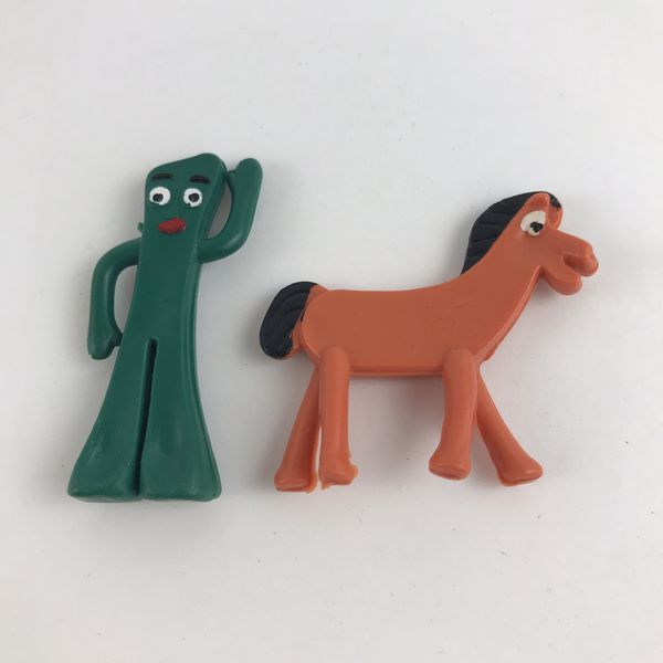 """Gumby and Pokey Retro Cartoon Characters 2"""" Tall Made of Rubber NEW"""