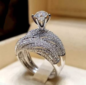 2pcs/set 18k White Gold Filled Couple Rings Wedding Engagement Jewelry Size 8 for Sale in Aldie, VA