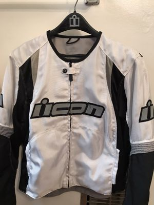 Icon Motorcycle Riding Jacket (White) Large for Sale in Los Angeles, CA
