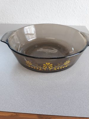 Pyrex oven safe round dish with yellow flowers for Sale in Phoenix, AZ