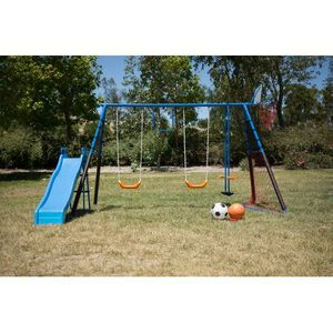 FITNESS REALITY KIDS 7 Station Sports Series Metal Swing Set with Basketball and Soccer for Sale in Houston, TX