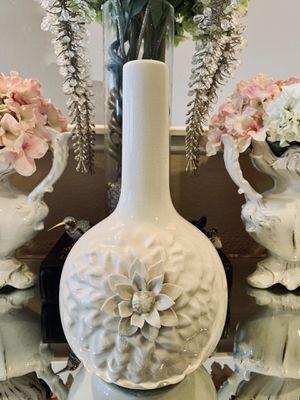 Flower Embroidered Porcelain Vase for Sale in North Las Vegas, NV