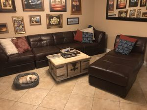 Chocolate brown leather sectional or separate sofa with chair and ottoman. for Sale in Hollywood, FL