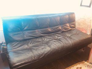 Black Leather Futon for Sale in Pompano Beach, FL