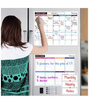 Dry Erase Calendar Whiteboard. Set of 3 Magnetic Calendars for Refrigerator: Monthly, Weekly Organizer & Daily Notepad. Wall & Fridge Family Calendar for Sale for sale  Brooklyn, NY