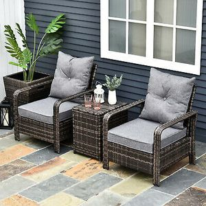3 Piece PE Rattan Patio Chair Porch Furniture Set w/ 2 Chairs & 1 Table for Sale in Los Angeles, CA