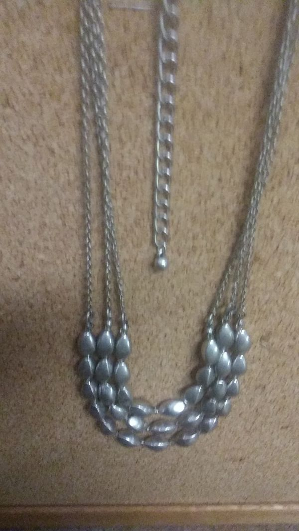 Ladies accent layered silver necklace