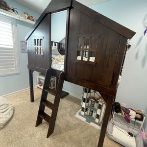 Pottery Barn Treehouse Loft Bed + Twin Mattress for Sale in San Diego, CA