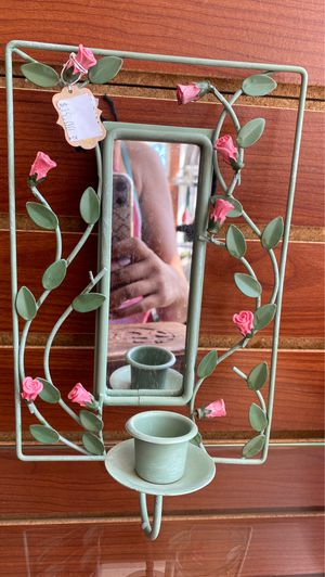 Vintage metal Floral Hanging Spell/Chime Candle Holder Frame + Mirror Room Decor for Sale in Brooklyn, OH