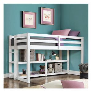 Better Homes and Gardens Greer Twin Loft Storage Bed with Spacious Storage Shelves, White Finishe for Sale in Garland, TX