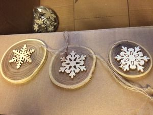 Handmade wood slice ornaments for Sale in Wildomar, CA