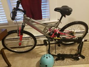 $ 140 or best 26in woman bike, 2 bike car rack, helmet for Sale in Ayer, MA