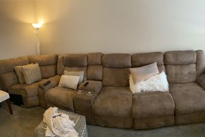 Tan leather sectional couch for Sale in Worthington, OH