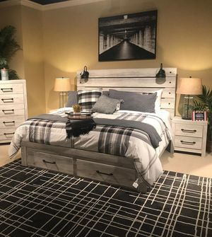 ☆Brand New Whitewash Storage Panel 4_Piece Bedroom Set》Queen, Twin, Full, King》Bed Frame, Dresser, Mirror and Night stand included🚚39 DOWN.. for Sale in Houston, TX