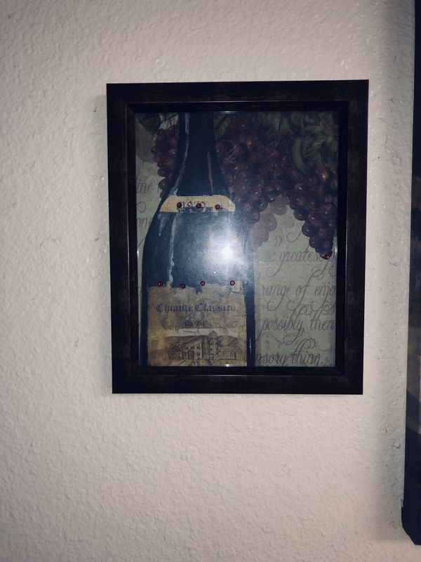 Canvas Wine Painting w 3 matching frames.