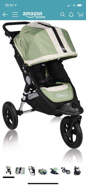 EUC Baby Jogger City Elite Single Stroller Green Black Unisex Forever Tires for Sale in Chesapeake, VA